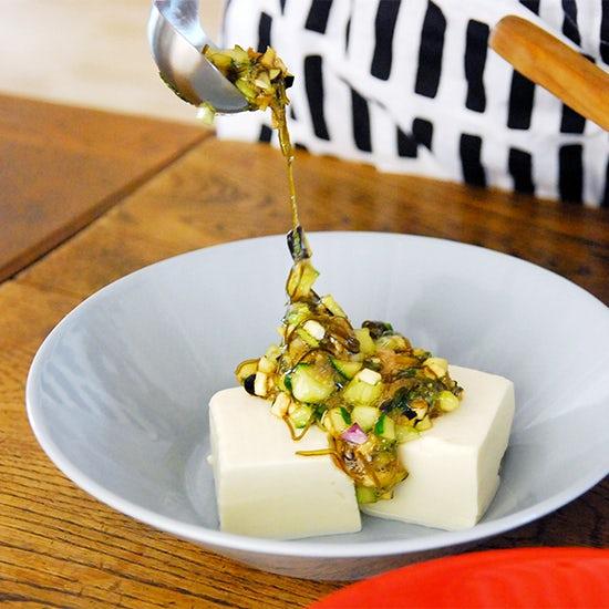 レシピ特集│火を使わない、野菜たっぷりレシピ3『切って混ぜるだけの、豆腐の山形だしかけ』