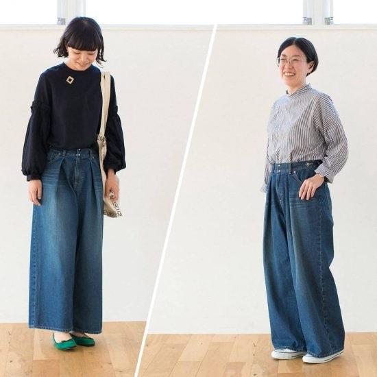 【着用レビュー】当店オリジナルのワイドデニムを、身長の異なる2人のスタッフが履いてみました!