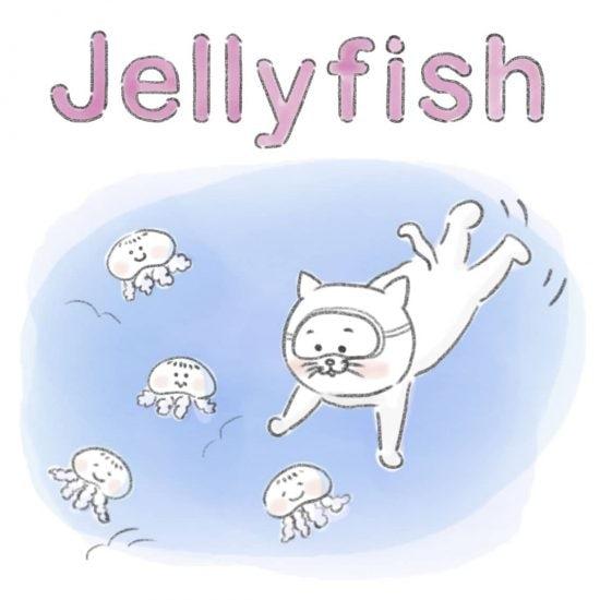 【ネコかるたイングリッシュ】「J」から始まる…「jelly fish」