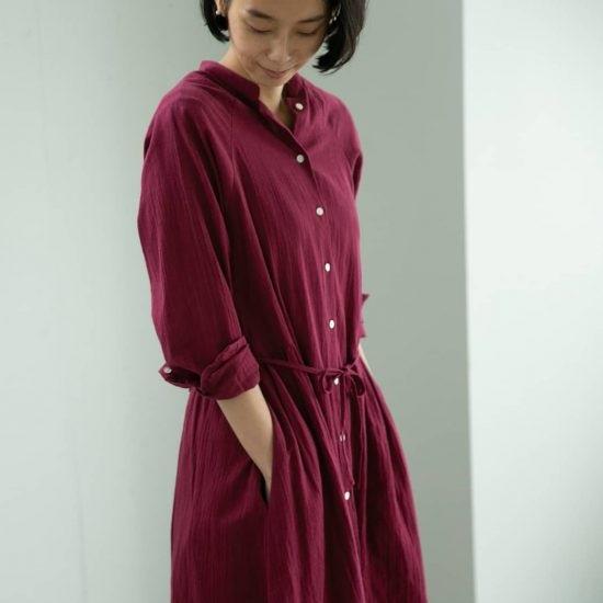 【新商品】着回し力抜群!羽織りにもなる秋色ワンピースを、当店オリジナルでつくりました♪