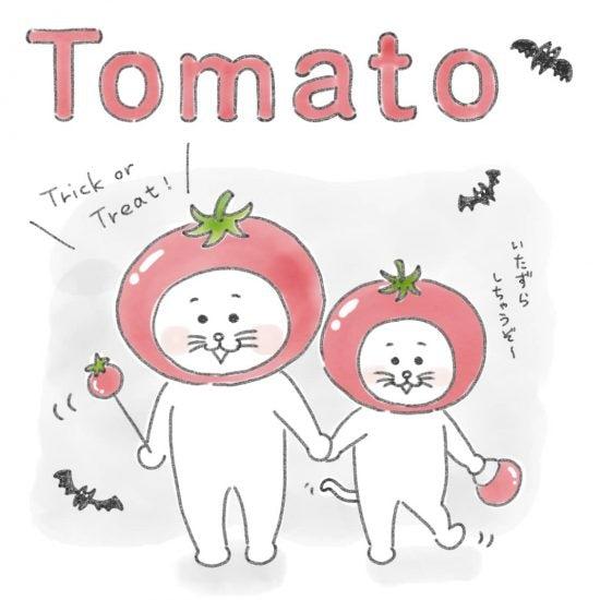 【ネコかるたイングリッシュ】「T」から始まる…「tomato」