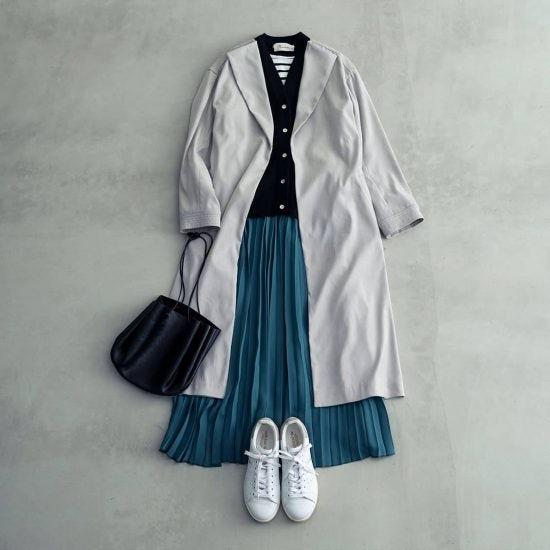 【40代のおしゃれ】03:大人へ向けたおすすめスカートは「とろみ素材のロングプリーツ」。その着まわし術って?