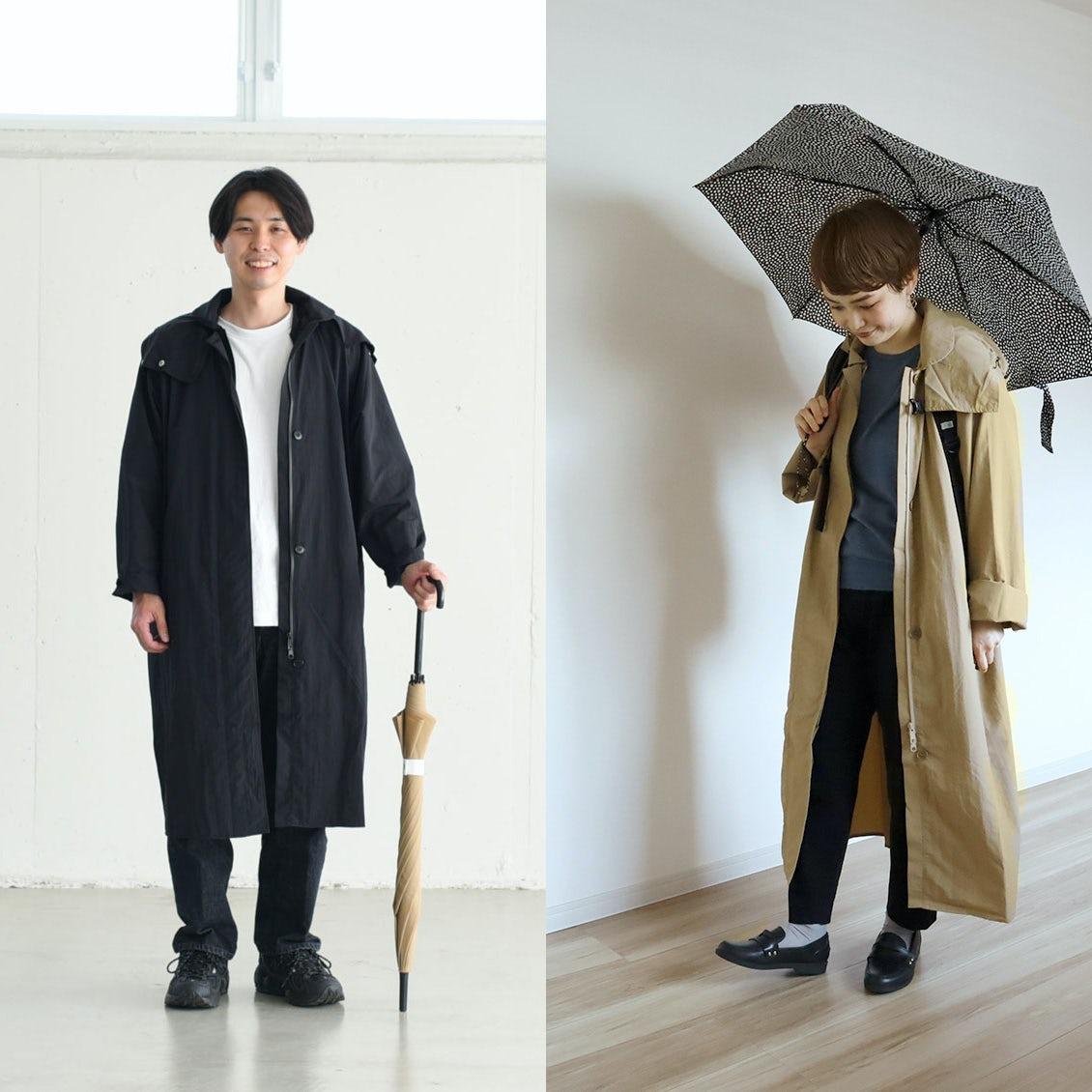 【着用レビュー】当店オリジナルレインコートを、身長の異なる2名が着てみました。